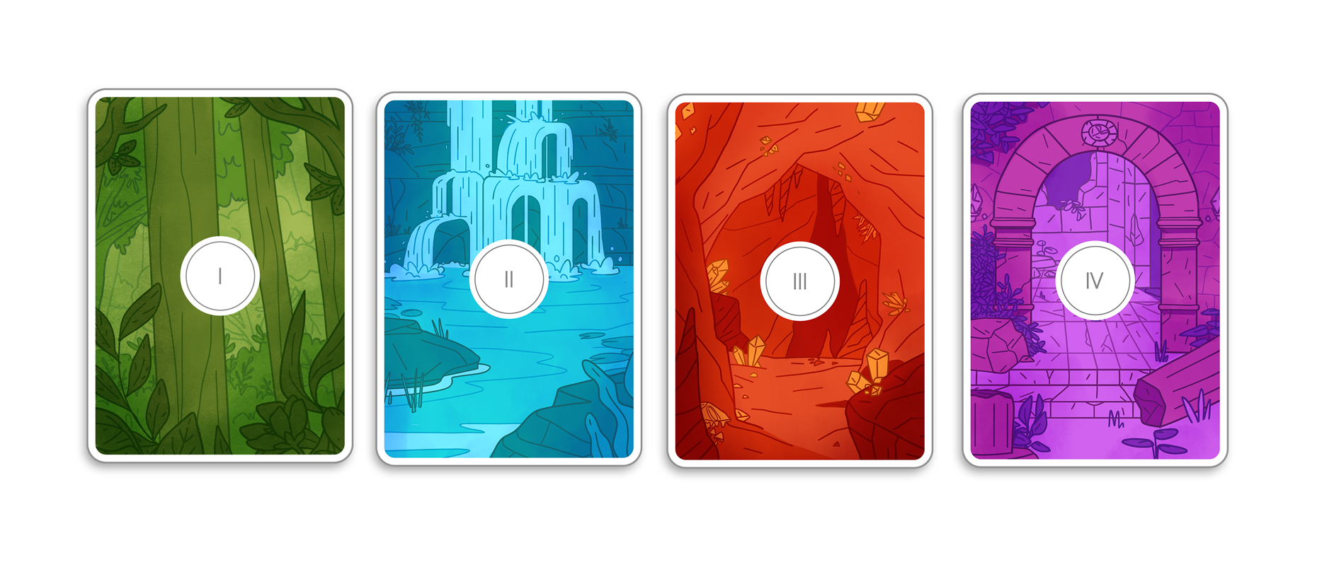 Card backs, environment illustrations.